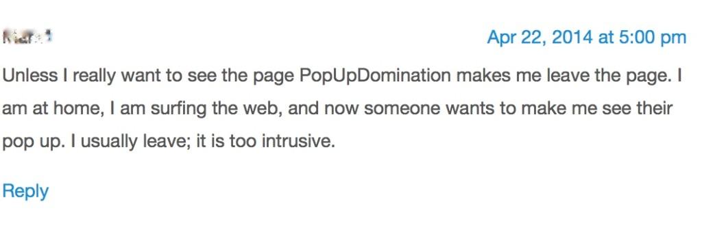 Kiss metric's reader view on pop ups