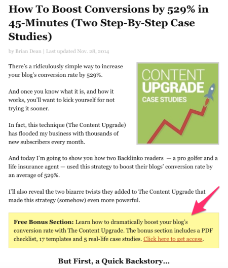 content upgrade in content link