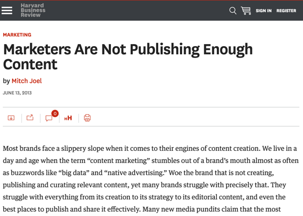marketers are not publishing content