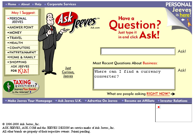 ask jeeves search queries seo