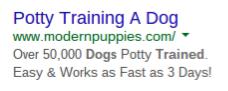puppy training ppc ad