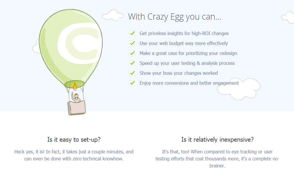 copywriting tweaks - benefits on Crazy Egg