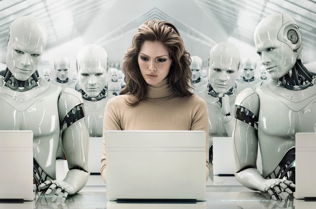 Businesswoman Surrounded by Robots