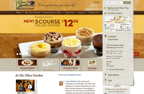 Beautiful restaurant website designs view 25 examples for Closest olive garden to my current location