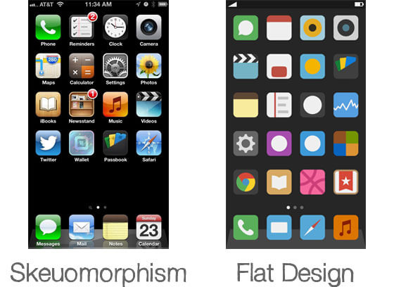 skeumorphic 02 comparison flat