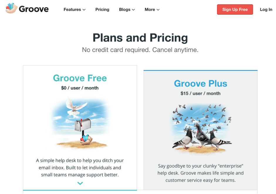 groove pricing page