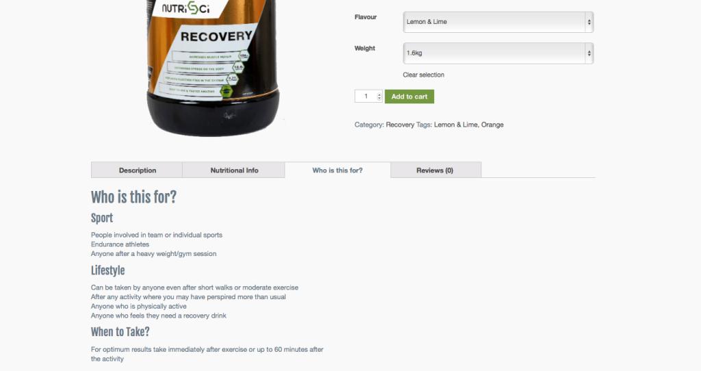 nutri sci product descriptions target audience