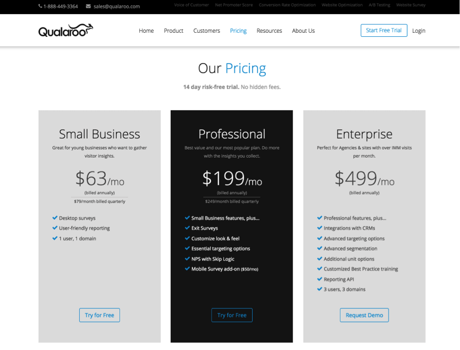 qualaroo pricing page