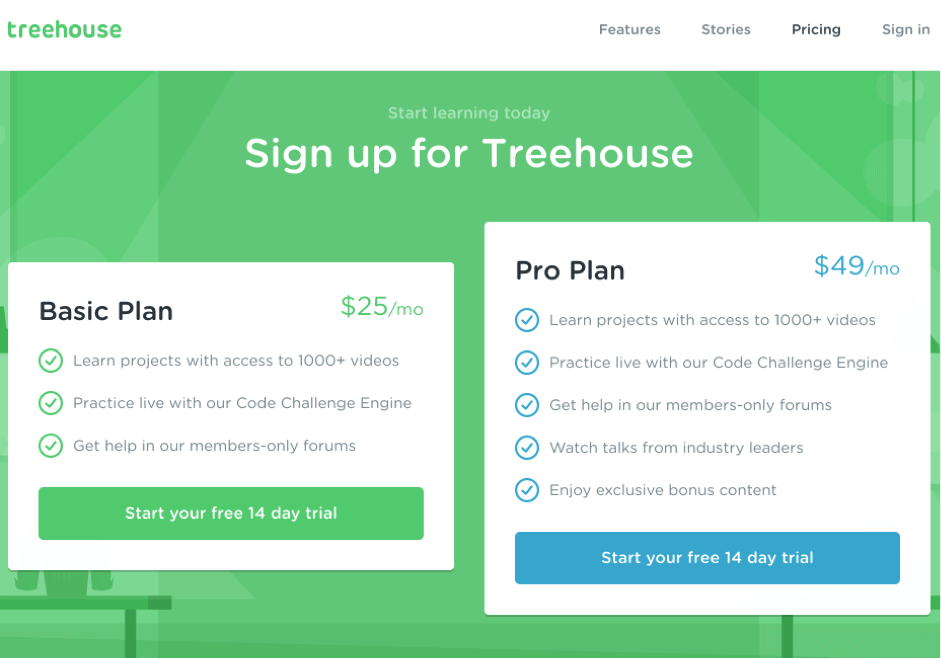 signup for treehouse