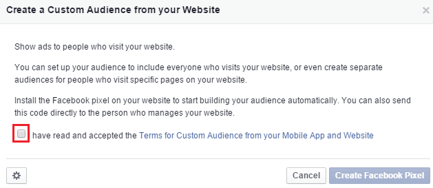 create a custom audience from your website