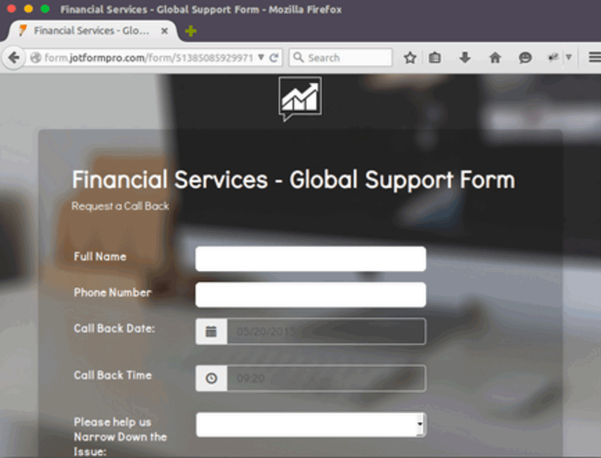 financial services global support form