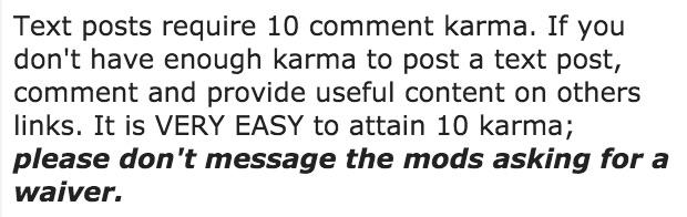 karma requirement