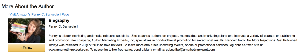 Example of how to drive traffic from Amazon author page back to your sign up page