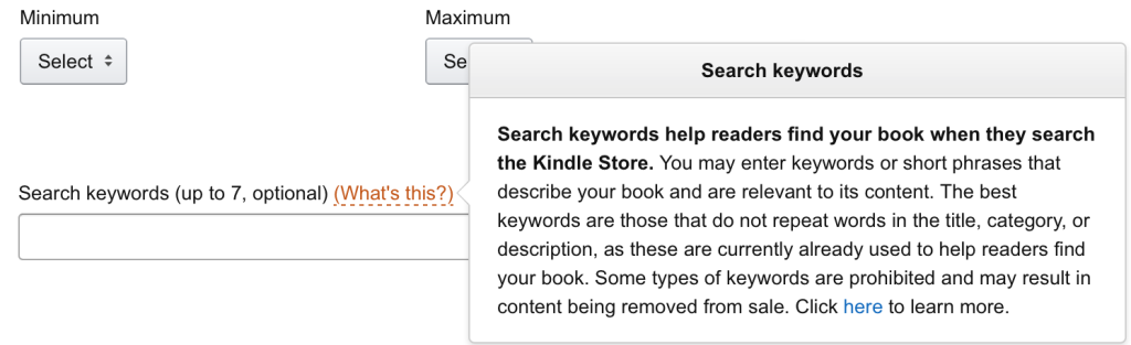 Amazon kindle publishing keyword examples