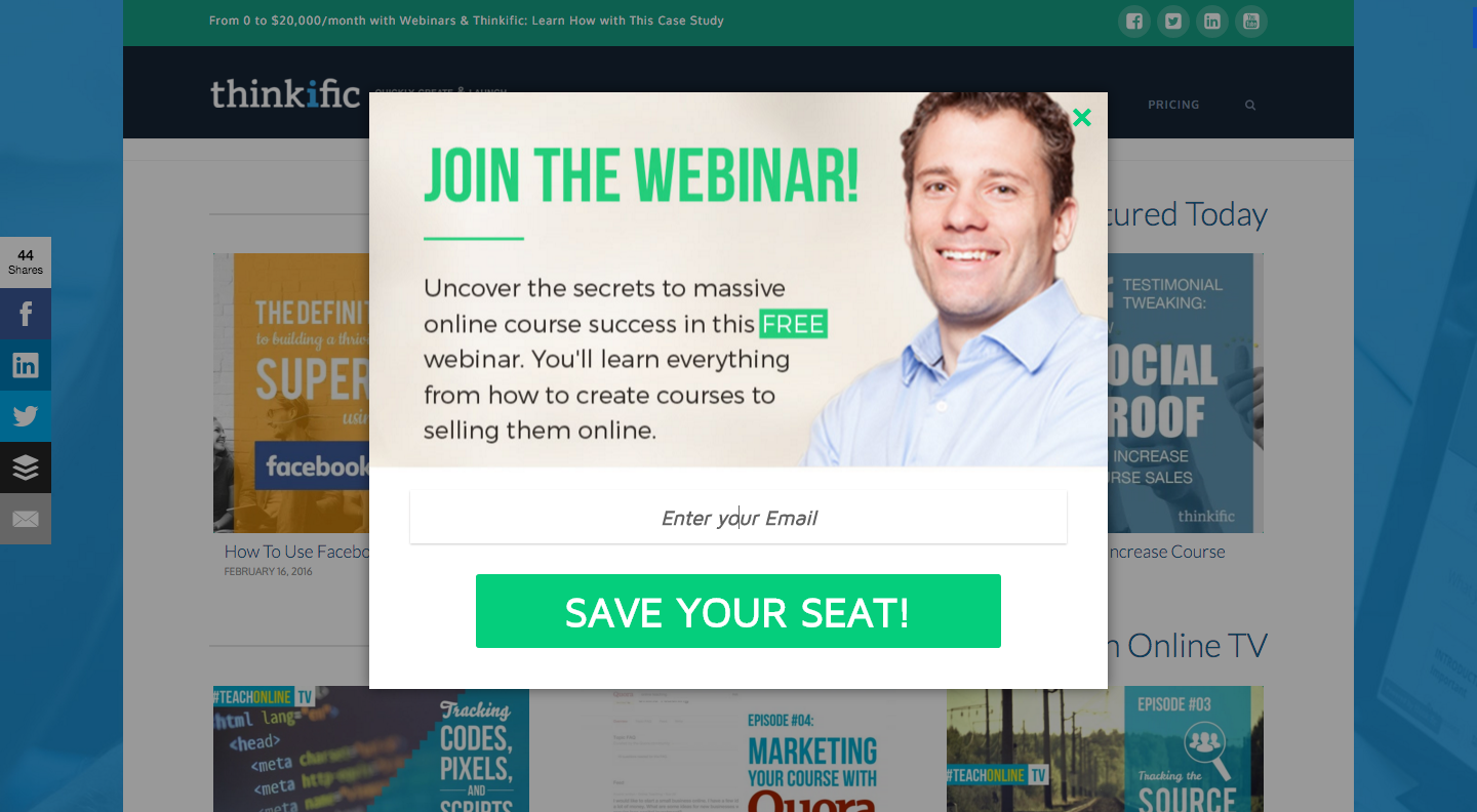 Increase webinar signups