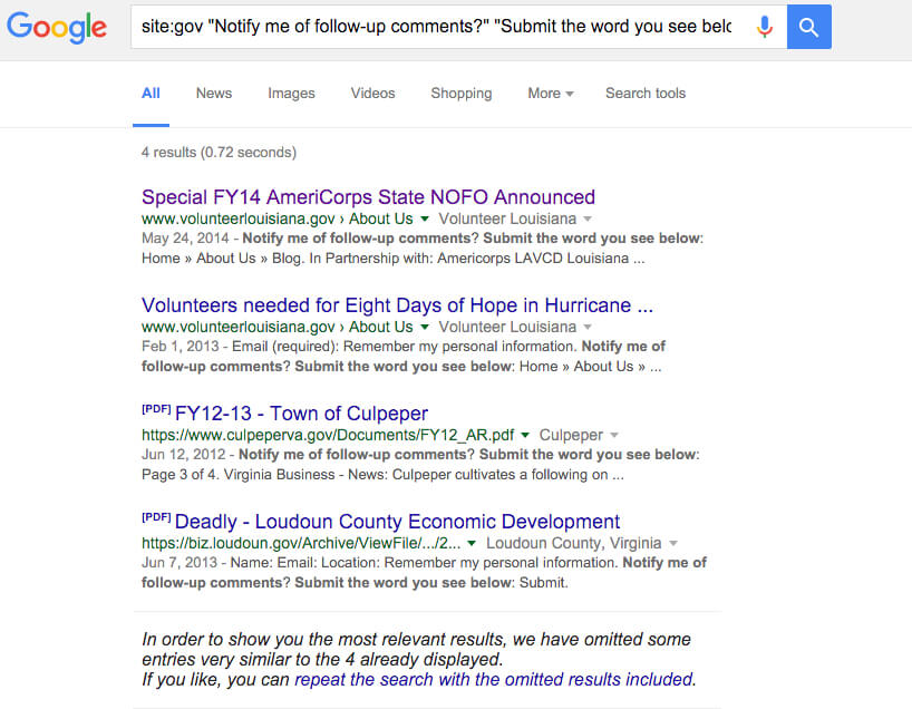 google search advanced government