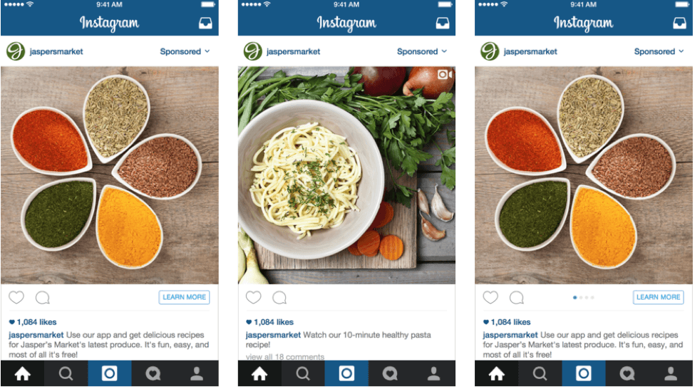 three types of instagram ad formats