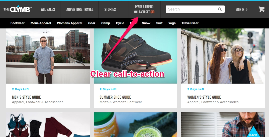 ecommerce referral marketing the-clymb header