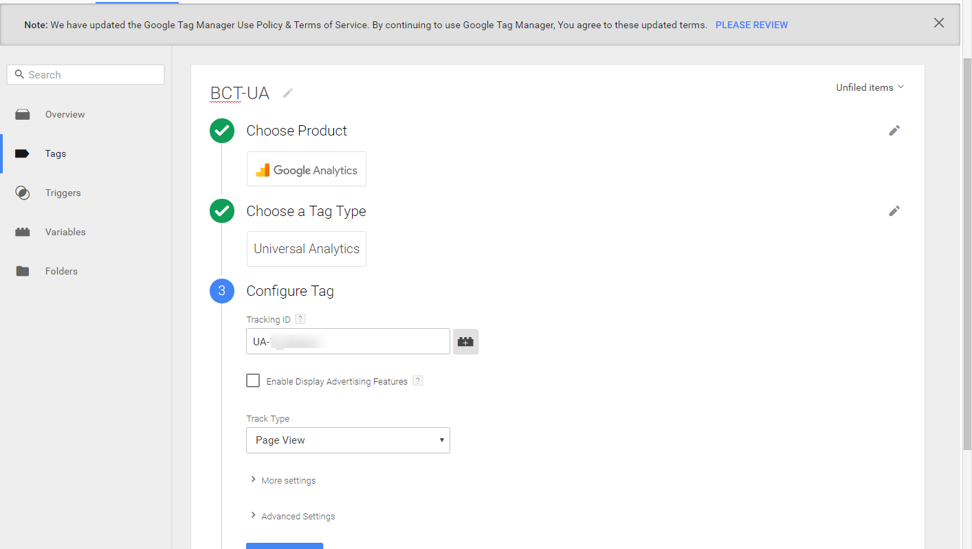 add trackng ID to Google Tag Manager