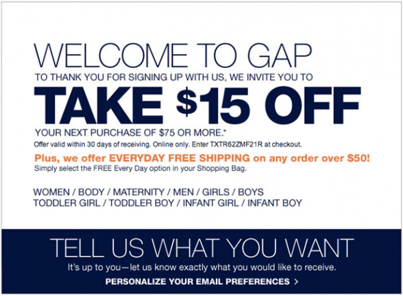 the gap coupon