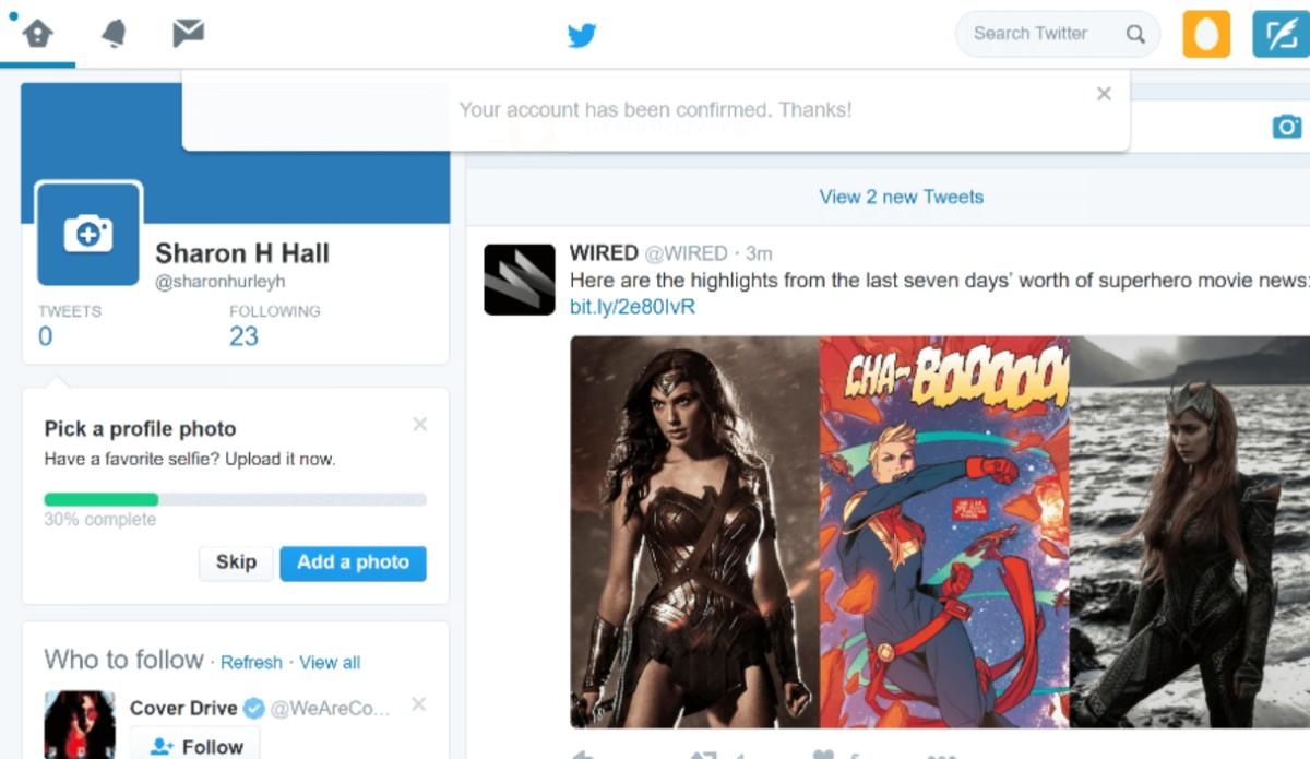 Twitter account confirmed