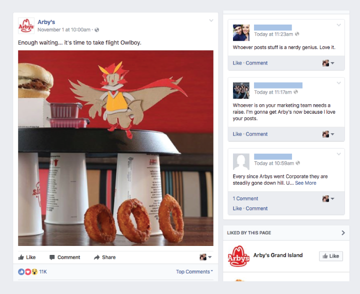 arbys facebook post