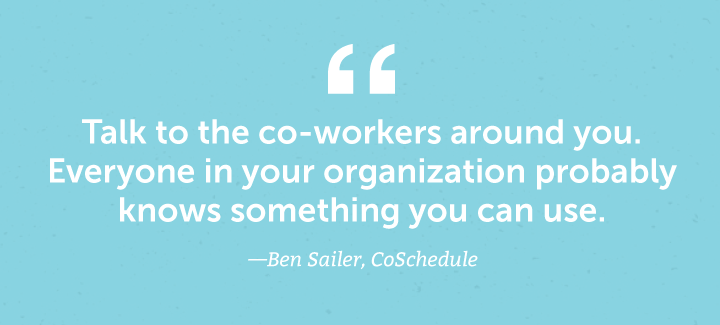 Talk to your co-workers