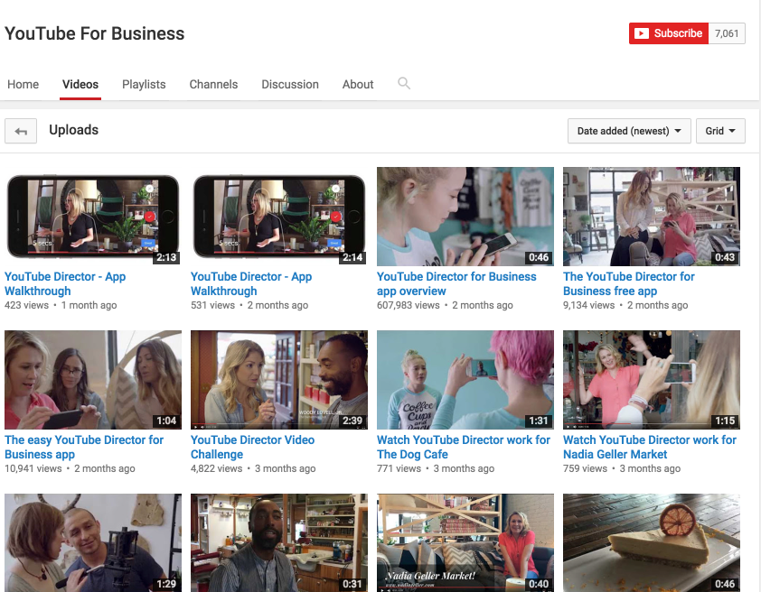 YouTube for Business Page
