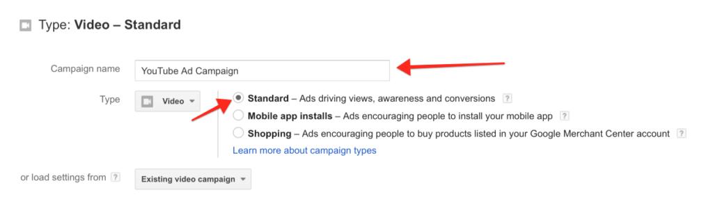 setting up standard video ads