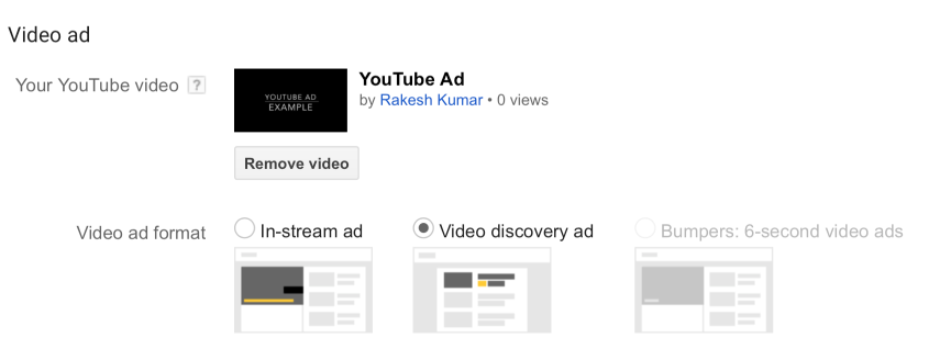 Video Discovery Ad Preview