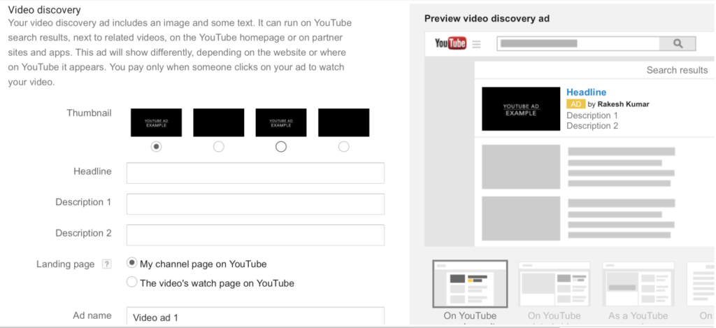 Video Discovery Ad Copy