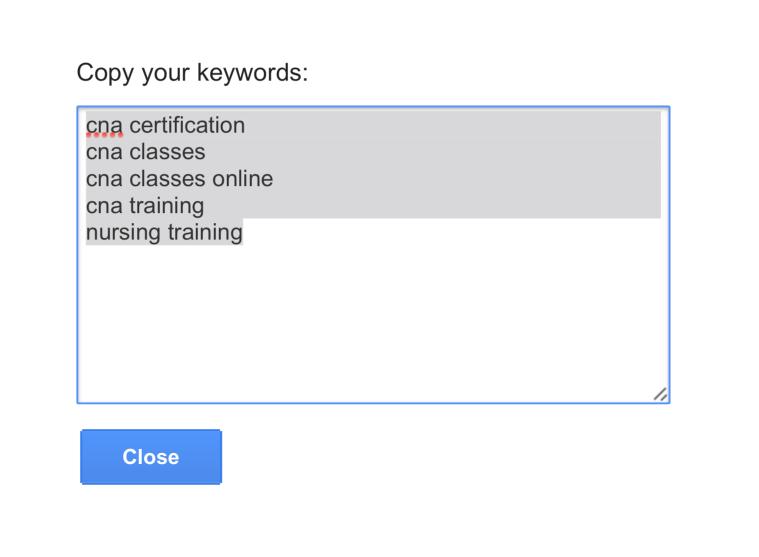 Copy Keywords