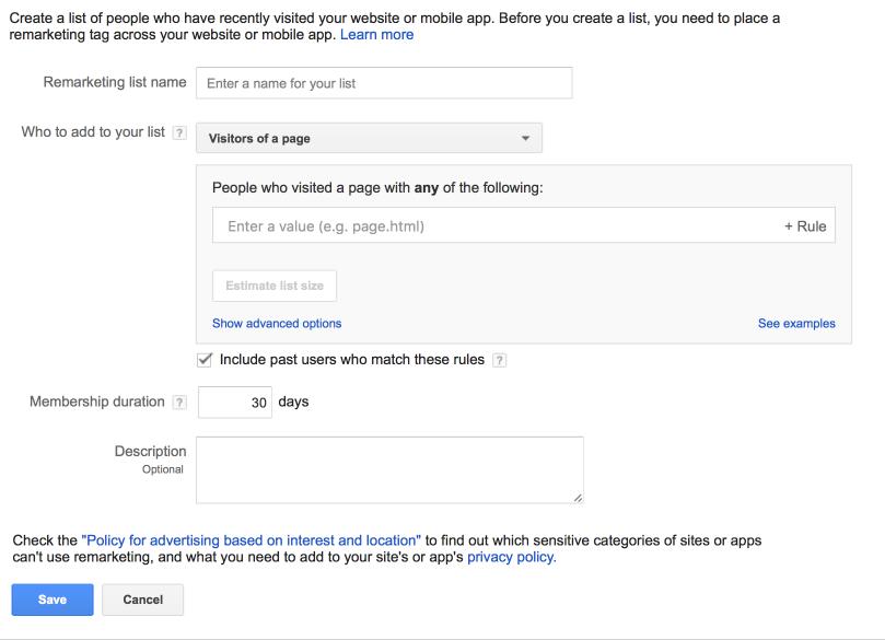 Create a Website Remarketing List