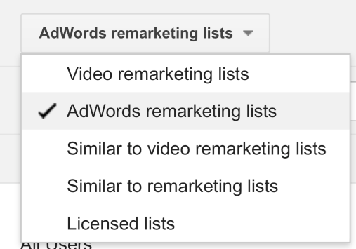 AdWords Remarketing Lists