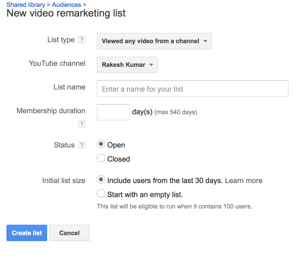 Create a Video Remarketing List