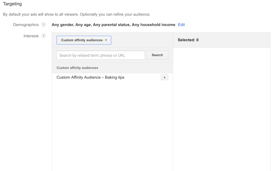 Selecting Your Custom Affinity Audience