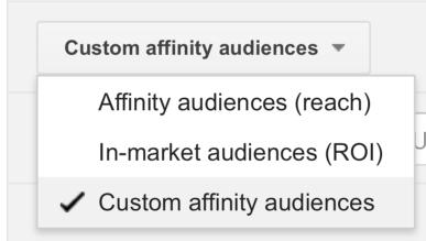 Choose Custom Affinity Audiences