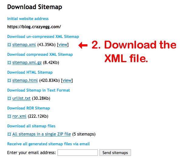 download sitemap XML file