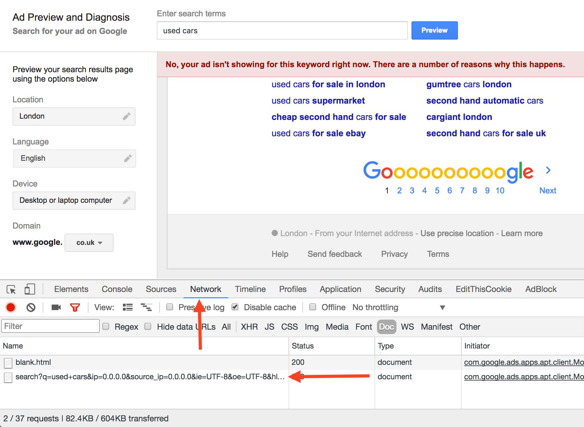 Keywords in Ads