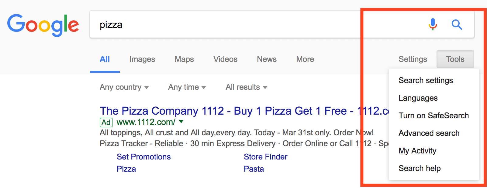 Pizza Search Tools