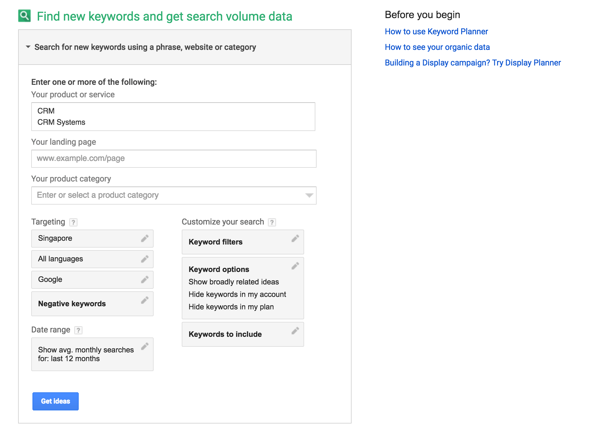 find new keywords and get search volume data