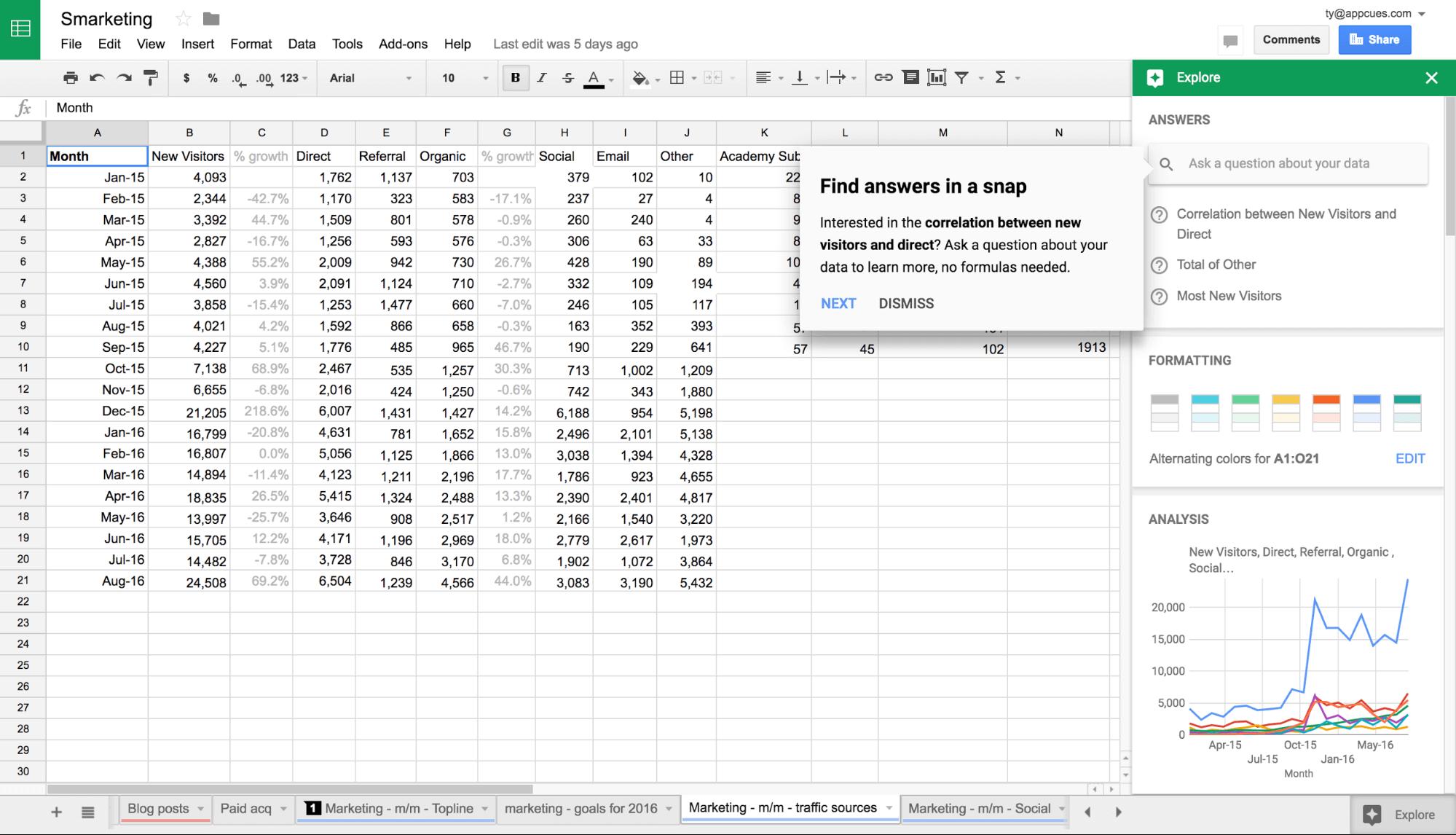 Smarketing spreadsheet find answers