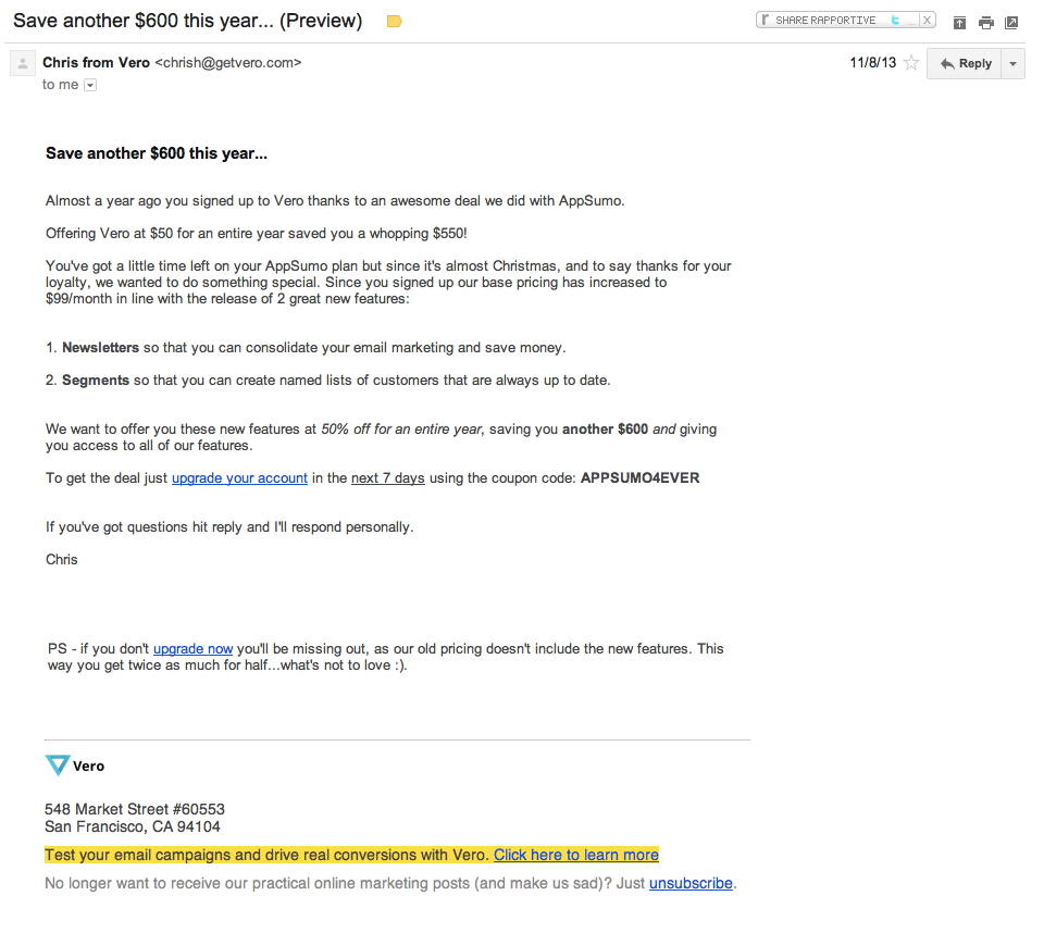 Vero email campaign