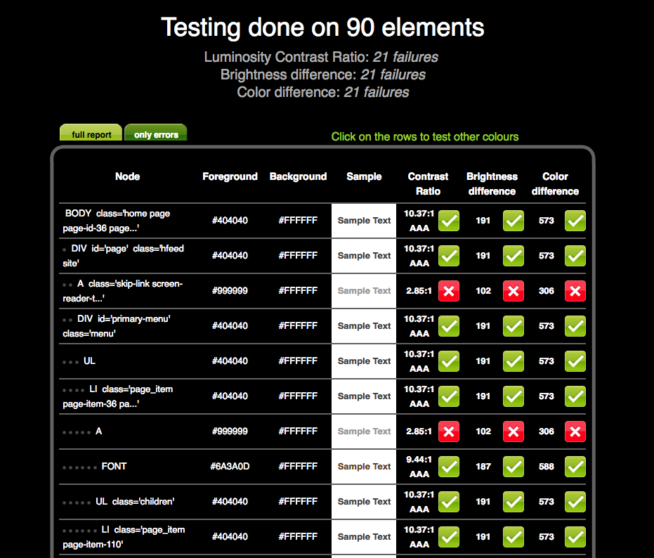 Check my Colours test done on 90 elements