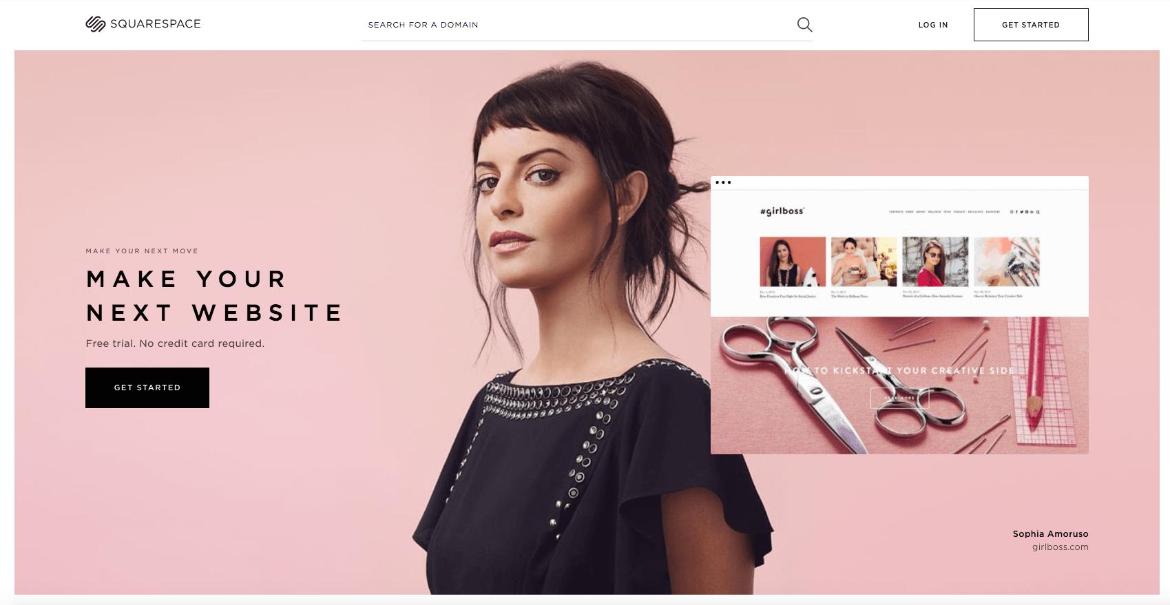 Squarespace screenshot pink background