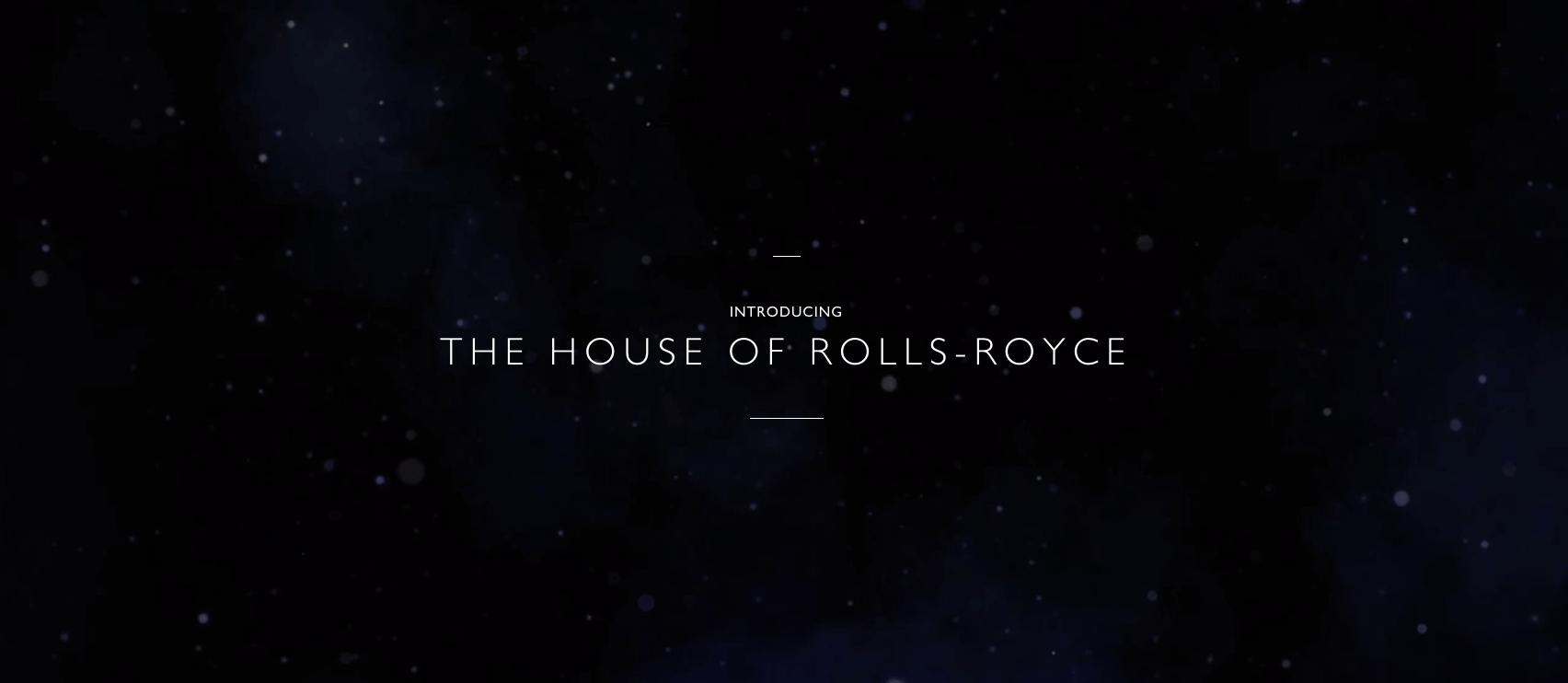 Rolls Royce black background website homepage