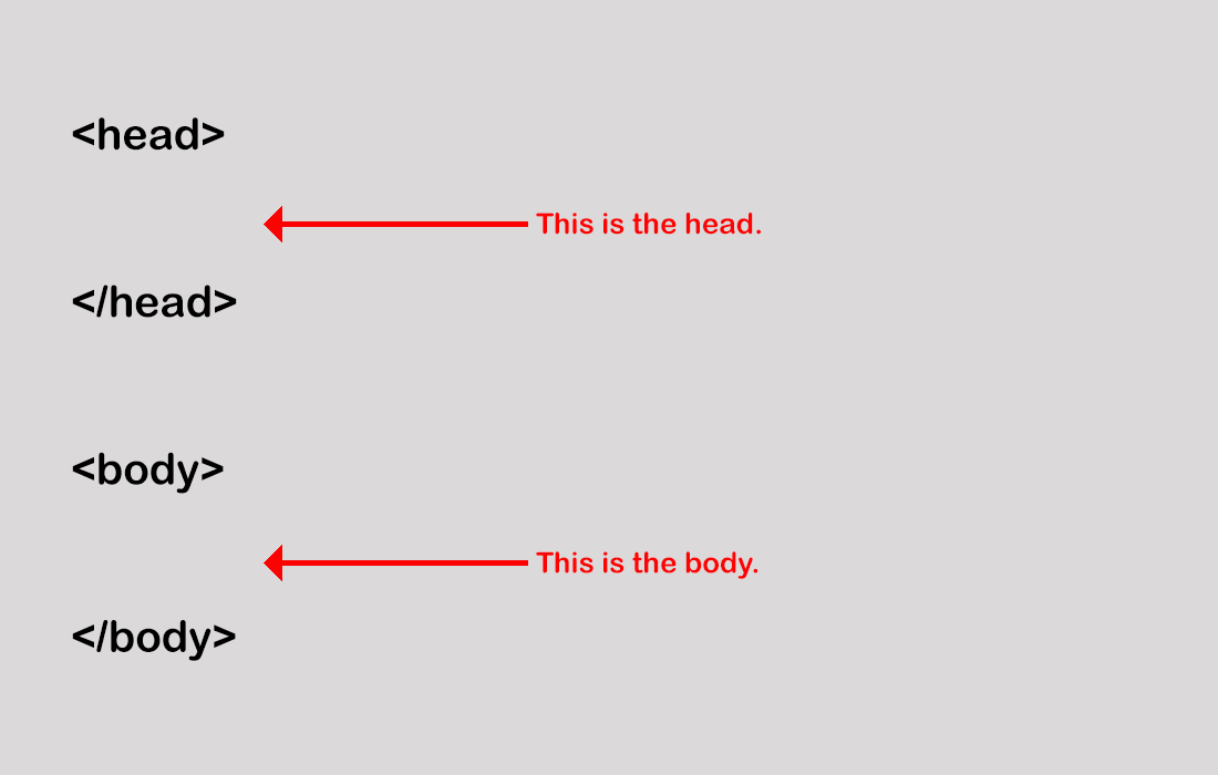 the head and body of a HTML file