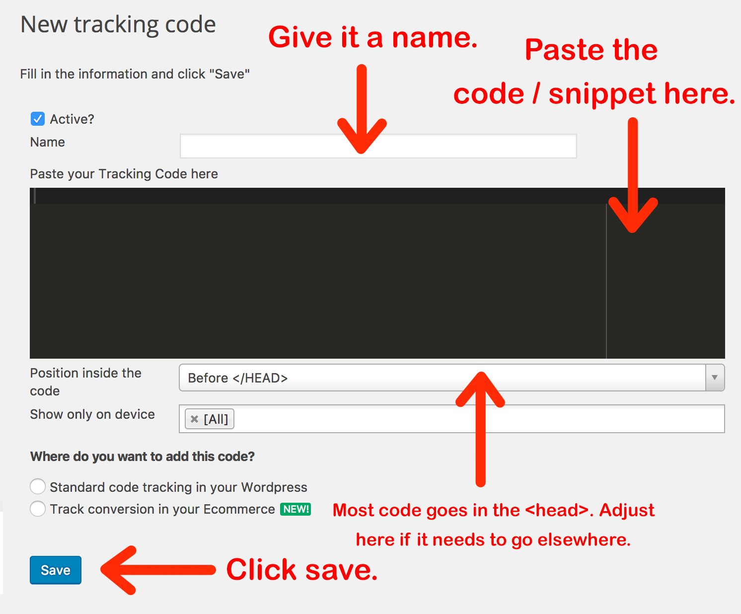 insert code into tracking code plugin