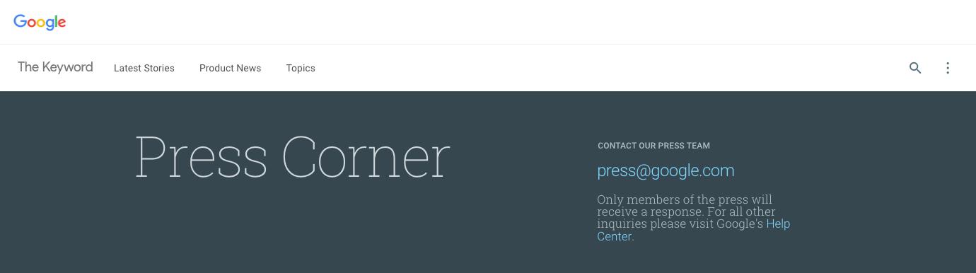 Google Press Corner