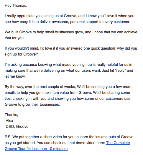 Groove welcome email